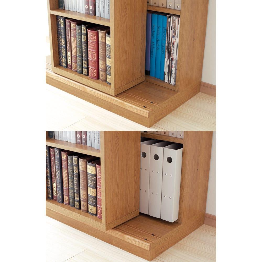 本格仕様 快適スライド書棚 オープン 2列 スライドは二重レール構造で、奥に設定すれば効率よく収納。手前なら大型サイズやA4ファイルなどが収納可能。