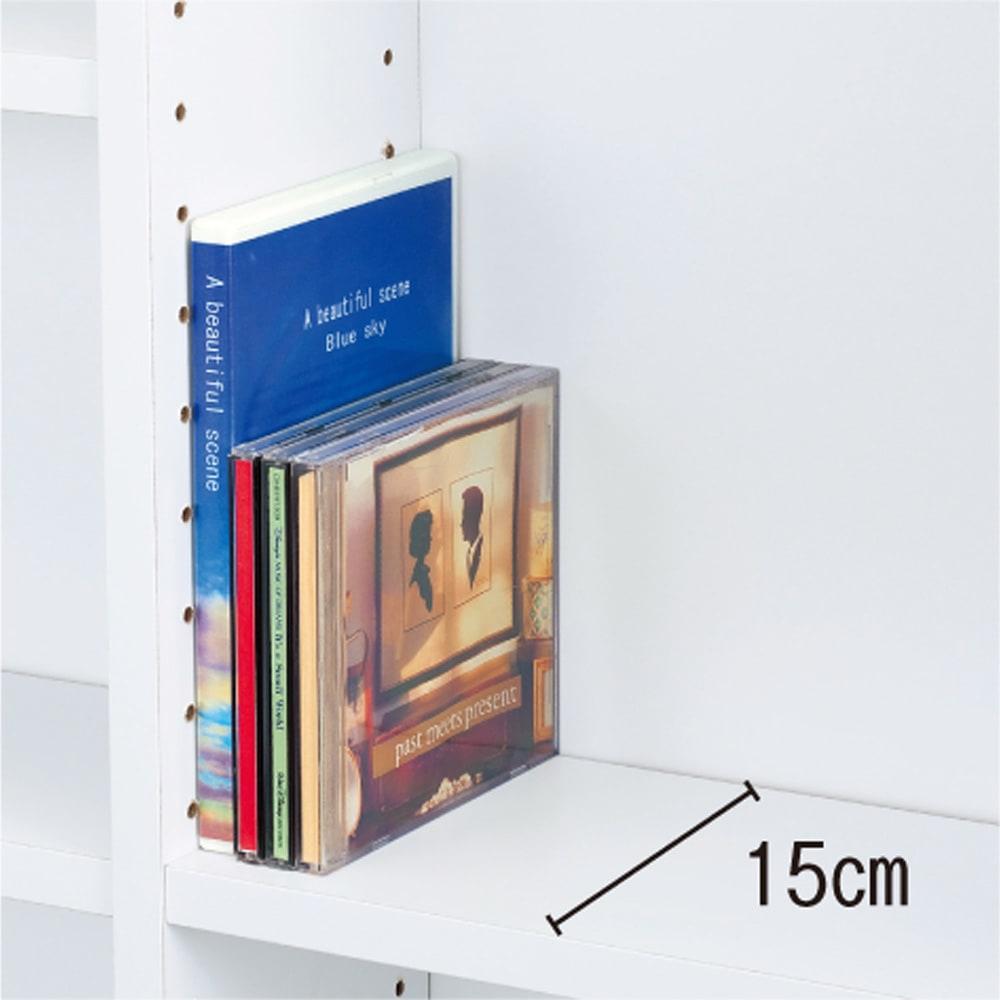 光沢仕様 引き戸壁面収納本棚 幅150奥行21高さ180cm 奥行21cmの浅型は文庫やコミック、CDの収納に。