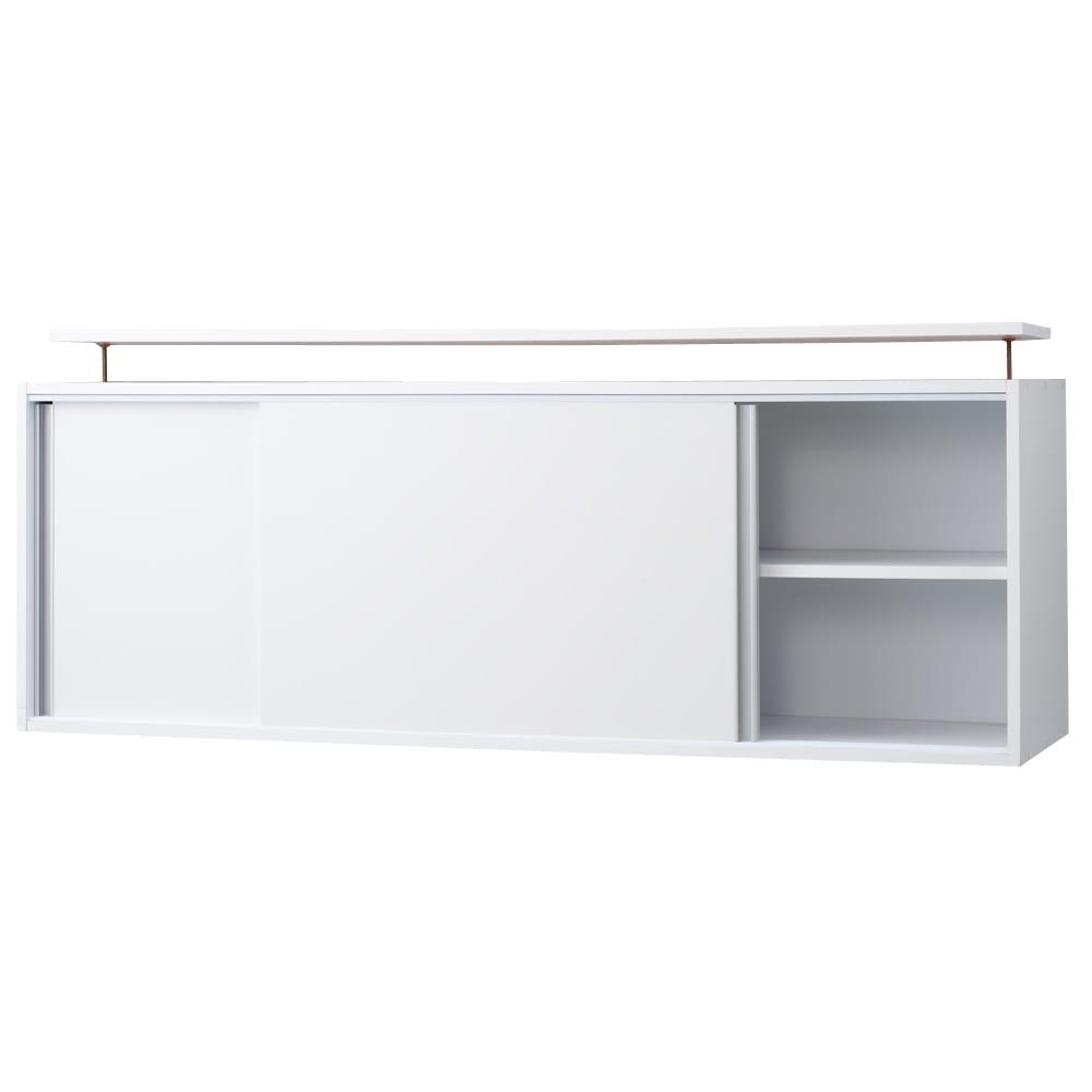 光沢仕様 引き戸壁面収納本棚 幅150奥行40突っ張り上置き高さ55~70(本体52)cm お届けの商品はこちら。棚板は可動式です。