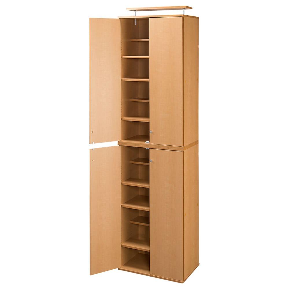 天井対応高さを選べるすっきり突っ張り書棚 奥行39cm段違いタイプ 本体高さ210cm(天井対応高さ213~223cm) (ア)ライトブラウン ※写真は幅60cmタイプです。