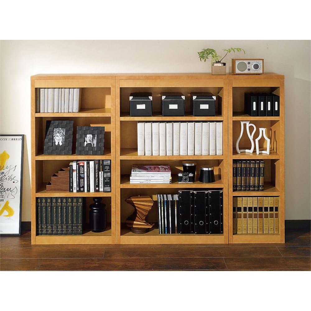 頑丈棚板がっちり書棚(頑丈本棚) ロータイプ 幅40cm (ア)ライトブラウン色見本 幅40cm、60cm、80cmの組み合わせ例