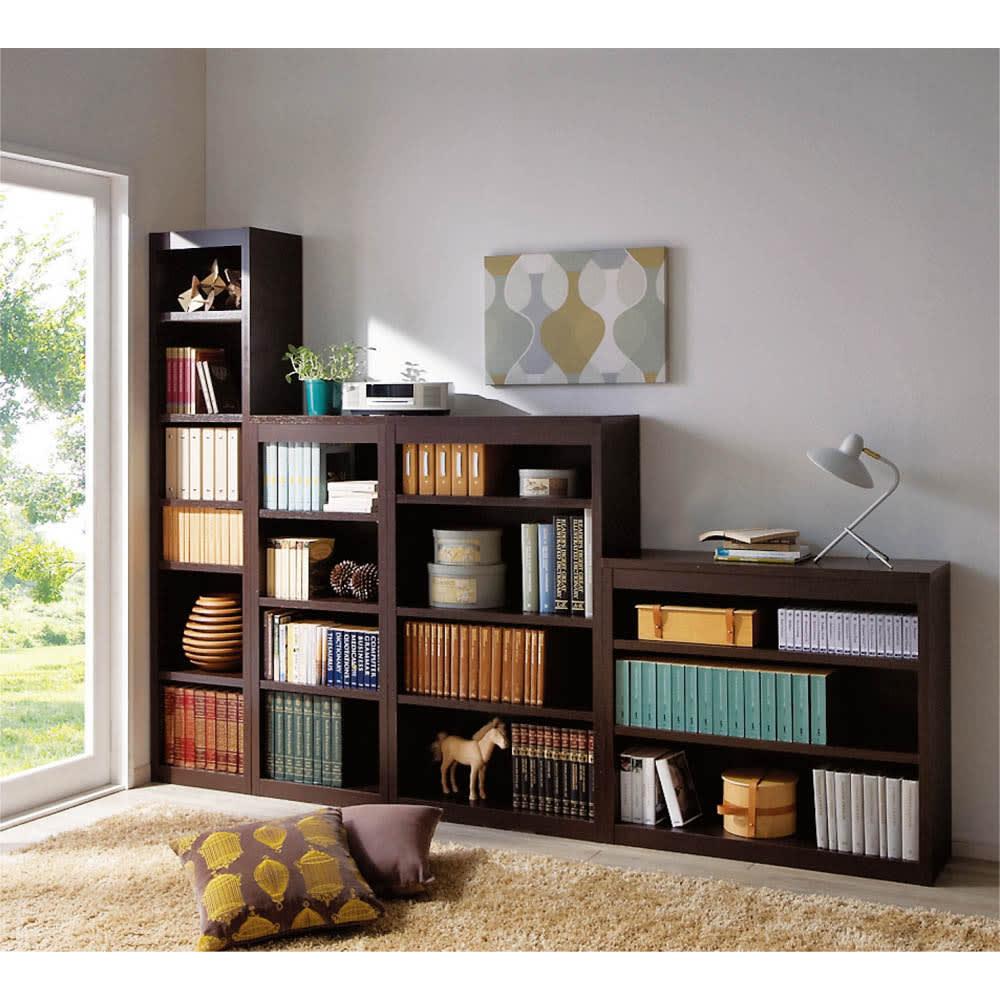 頑丈棚板がっちり書棚(頑丈本棚) ロータイプ 幅50cm (イ)ダークブラウン色見本 組み合わせ例