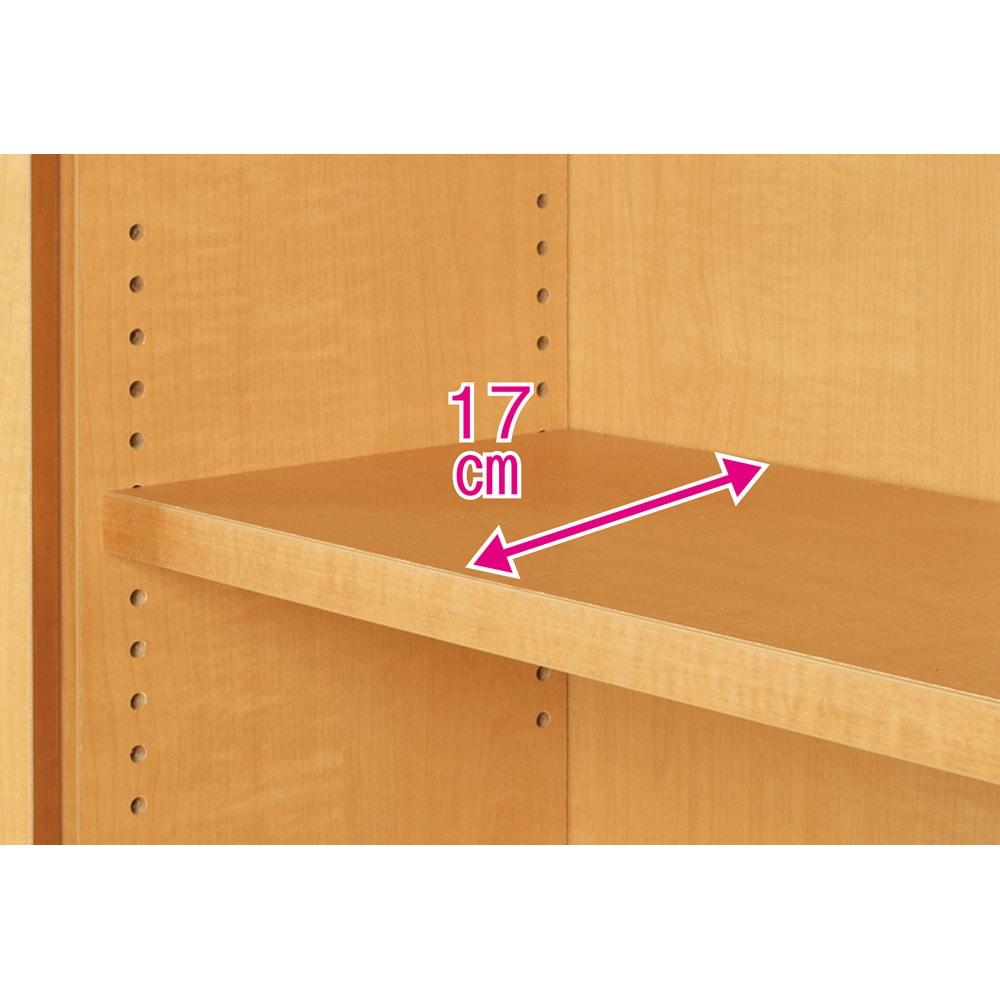 天井対応高さを選べるすっきり突っ張り書棚 奥行22cm・1列棚タイプ 本体高さ250cm(天井対応高さ253~263cm) 可動棚板は全て1.5cmピッチで調整できます。