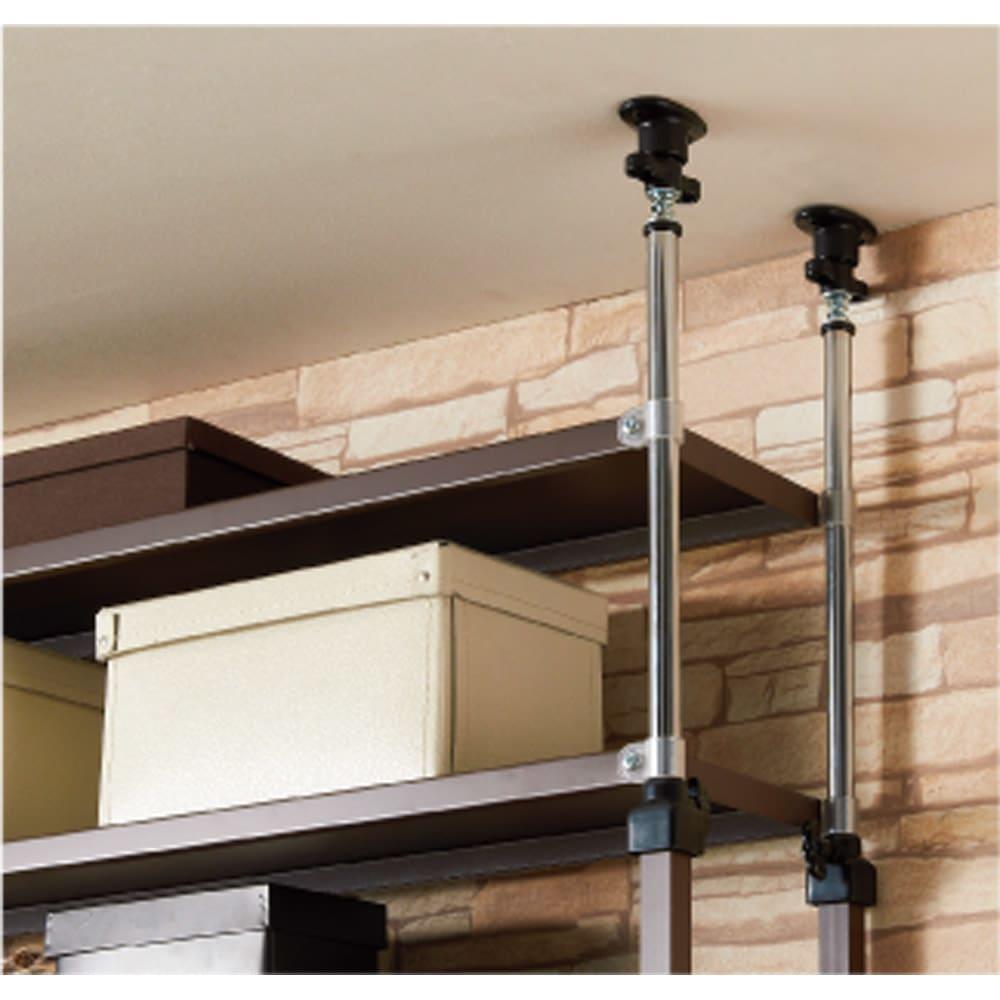 パンチングコミックラック 突っ張り式(奥行21・高さ216~279cm)コミック用 幅119cm 天井突っ張り式で、がっちり支えます。