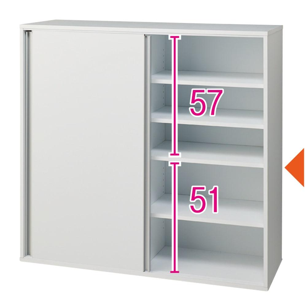 大量収納が自慢の引き戸式本棚 幅120本体高さ114cm 奥行40cm ※内寸(単位:cm)