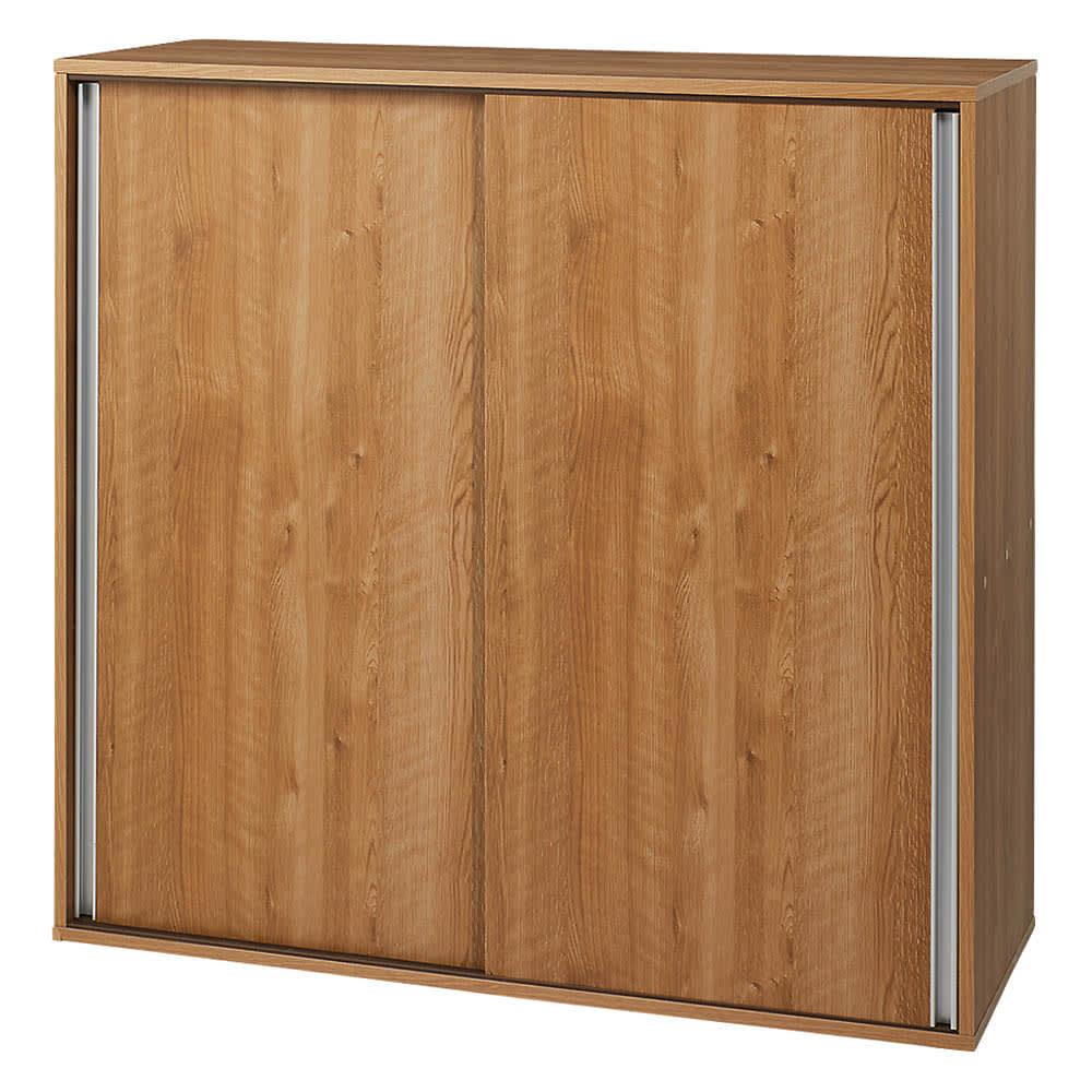 大量収納が自慢の引き戸式本棚 幅120本体高さ114cm 奥行40cm (ア)ブラウン