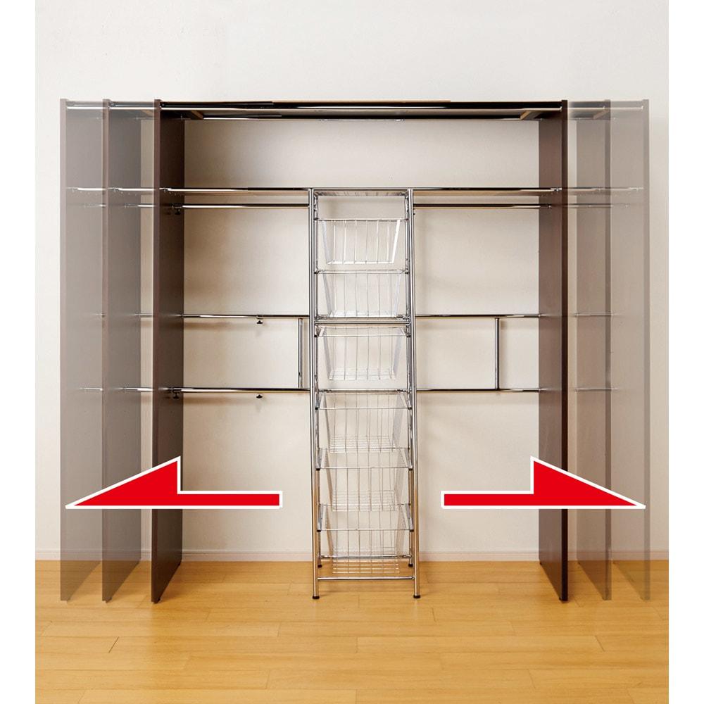 カーテン付き アーバンスタイルクローゼットハンガー 引き出しなし・幅117~200cm対応 幅が伸縮するので置きたい場所にぴったりと設置できます。衣類が増えた際も安心です。※写真は引き出し付きタイプ・ワイド幅です。