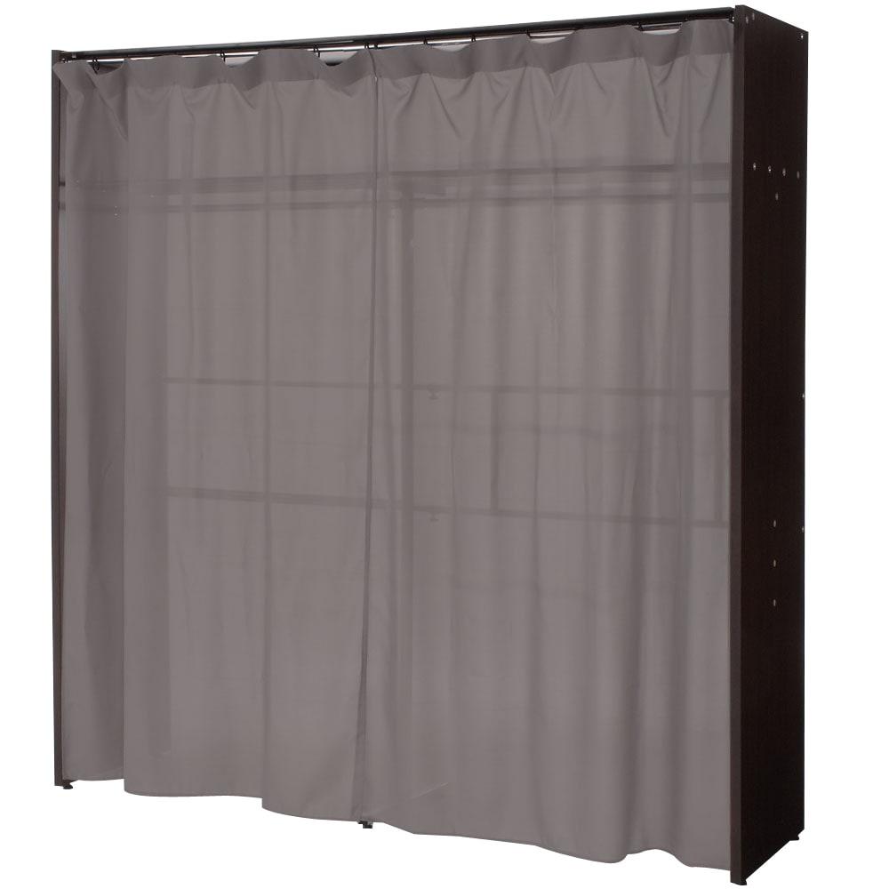 カーテン付き アーバンスタイルクローゼットハンガー 引き出しなし・幅117~200cm対応 カーテンを閉じた場合。うっすらと内部が透けますが、壁面に設置すると見えなくなります。
