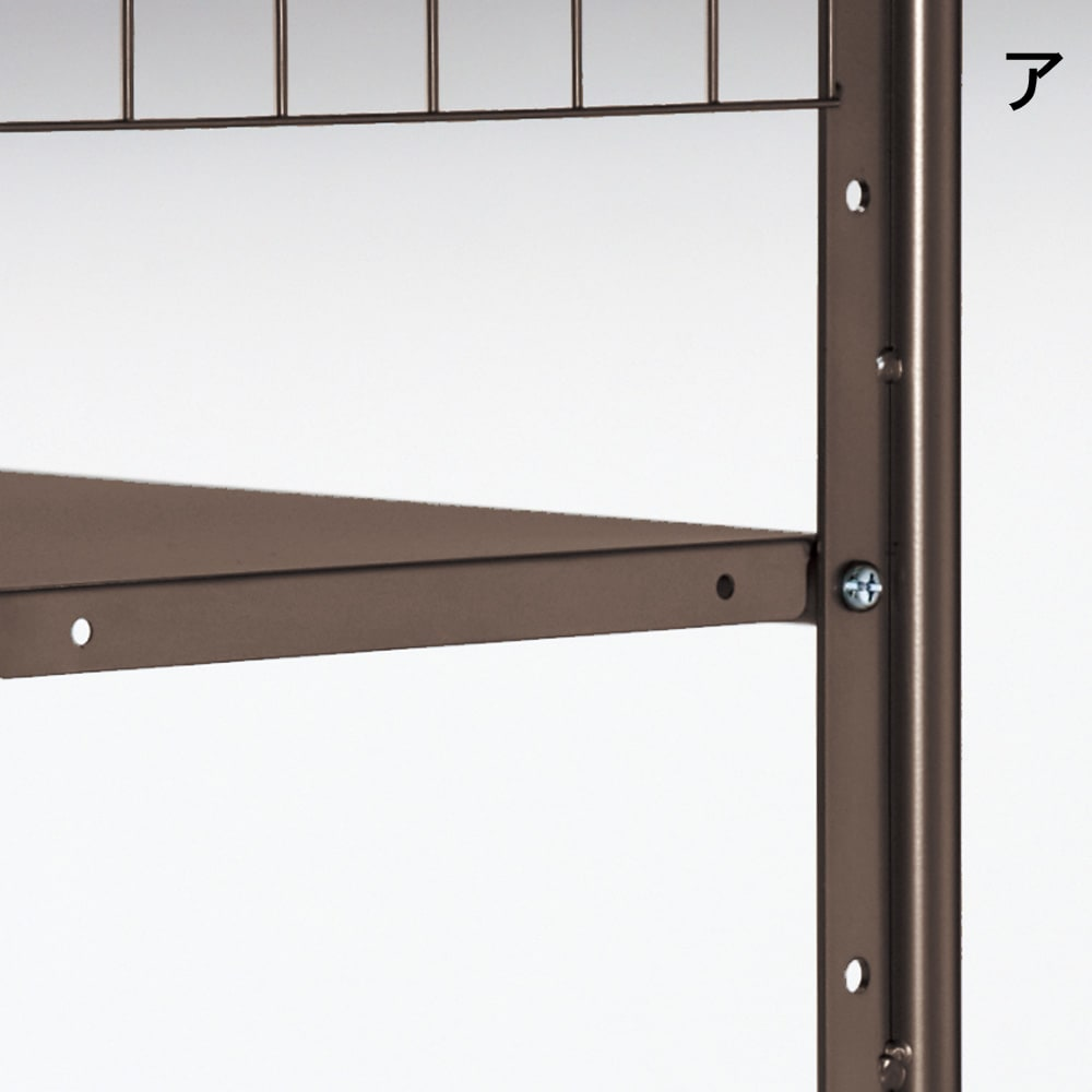 頑丈フレキシブル伸縮ラック 突っ張り式・幅103~160cm 棚板とバーは5cmピッチで調節可能。