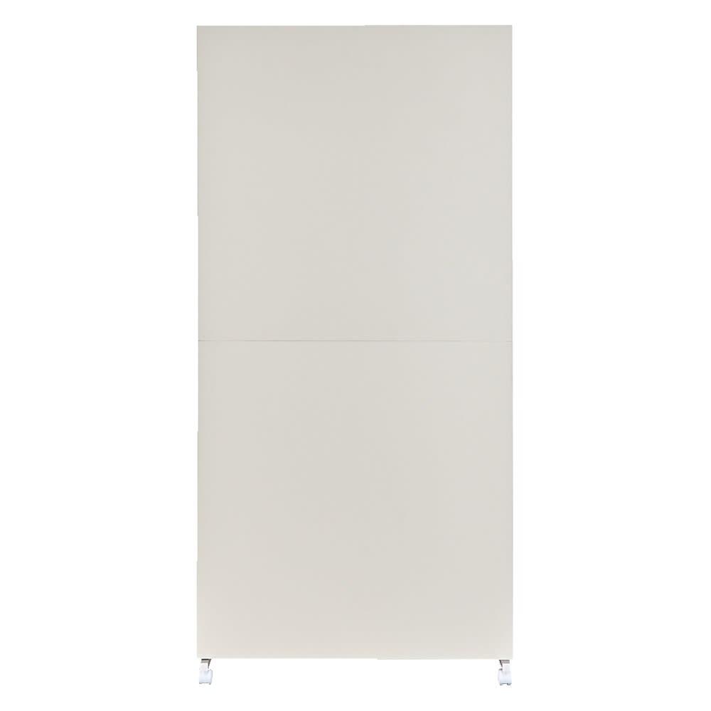 【空間を仕切りながら大量収納】キャスター付き間仕切り収納 2段ハンガーラック 幅60cm (ア)ホワイト(裏:間仕切り面) ※写真は幅90cmタイプです。