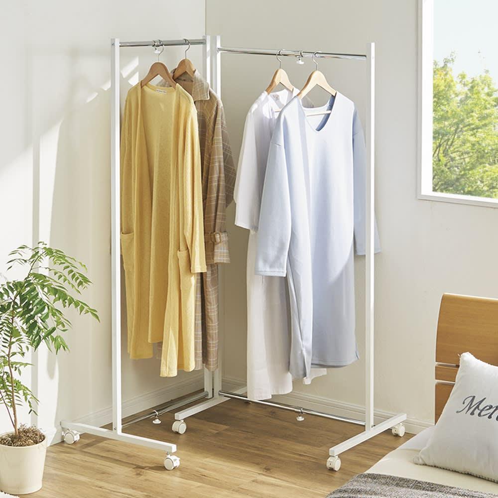 【頑丈かつコンパクト】物干しとしても使える伸縮式折りたたみハンガー 小・幅84~128cm 曲げて設置して部屋のコーナーやデッドスペースなどを活用。