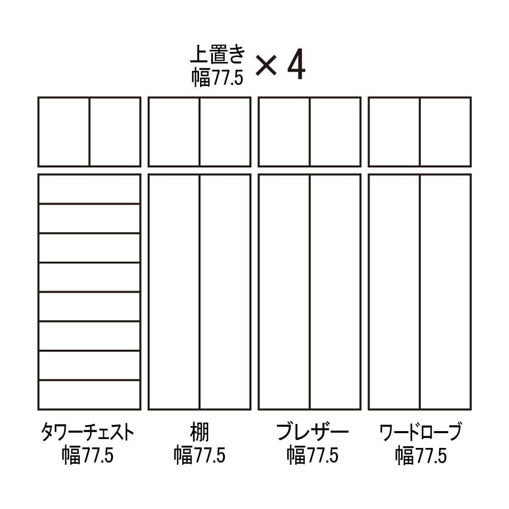 【日本製】シンプルスタイルワードローブ ブレザー 幅77.5cm奥行56cmタイプ 組み合わせ図