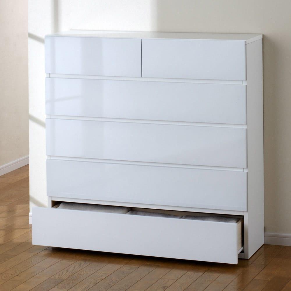 奥行30cm薄型ツヤツヤチェスト 幅100cm・5段 (ア)ホワイト 薄型だから狭い場所でも設置可能!