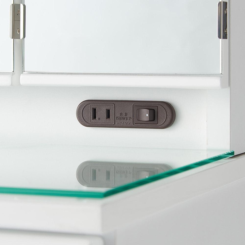 ライト付きドレッサーシリーズ ドレッサー(スツール付き) 幅60高さ139cm ミラー下部に1口コンセントとダウンライトの電源スイッチ付き。