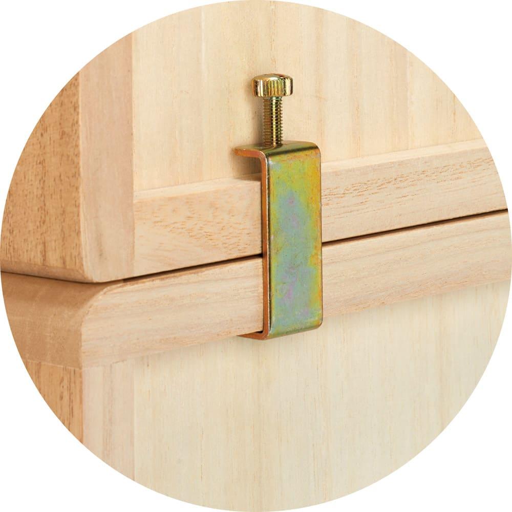 自分仕様に造れる 総桐ユニット箪笥 衣類収納箪笥6段 上下に重ねる場合は連結金具で裏からしっかりと固定できます。