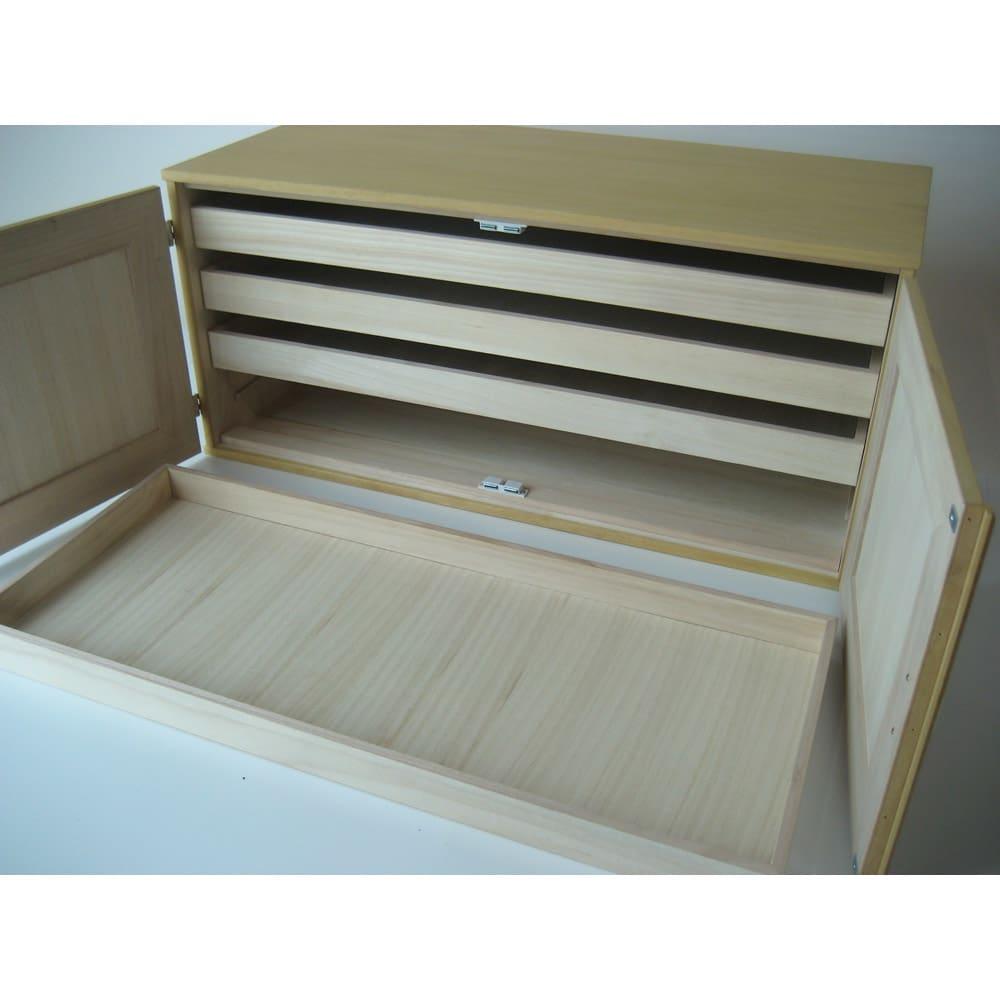 【本格派の着物収納】総桐着物収納ユニットタンス 上台扉タイプ 高さ45cm 盆は取り出すことができます。
