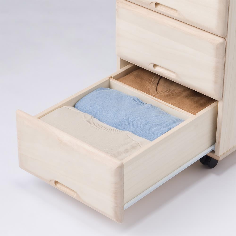 【衣類に優しい押し入れ収納】総桐スライドレール押入3段 スリム75 引き出し収納例