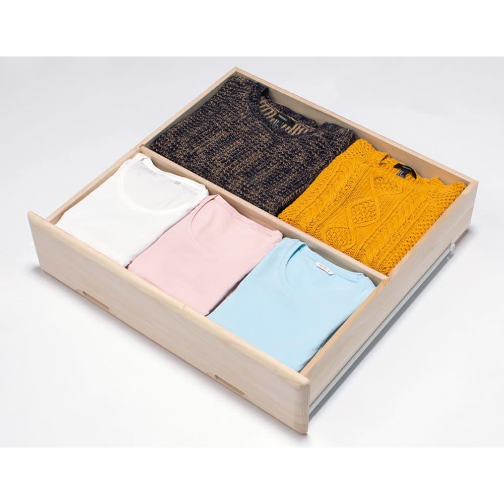 【衣類に優しい押し入れ収納】総桐スライドレール押入3段 ミドル64 便利な仕切り板付き(前後2列に整理できます)
