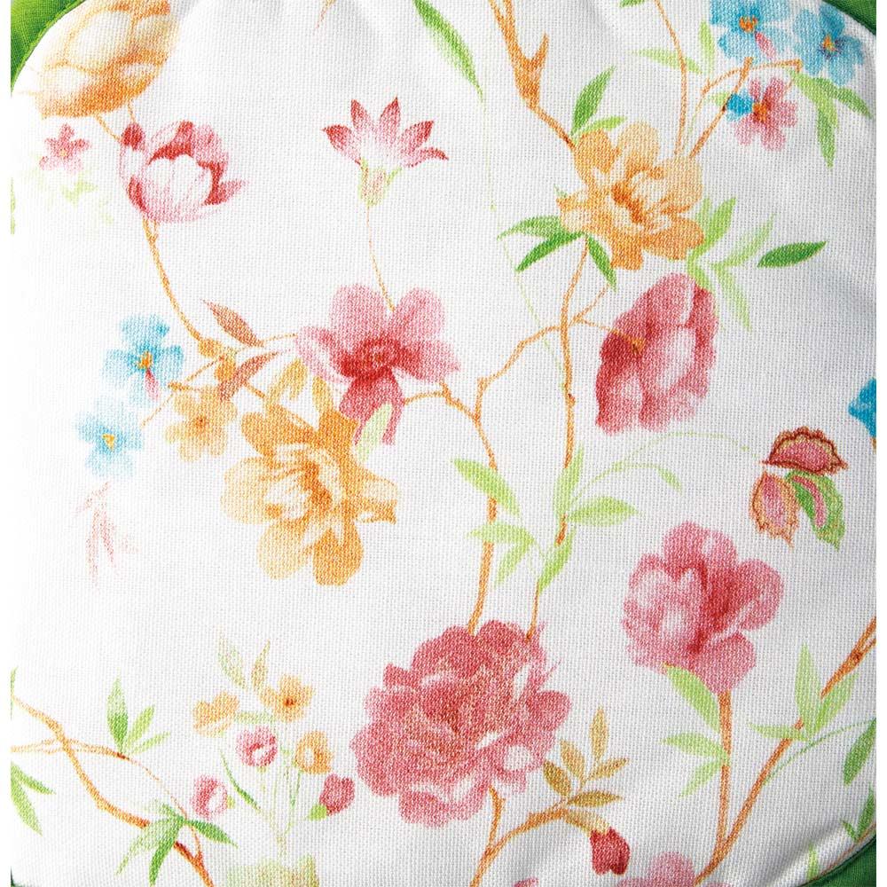 ポルトガル製花柄キッチン4点セット ミトンとポットホルダーは小さめな花柄。