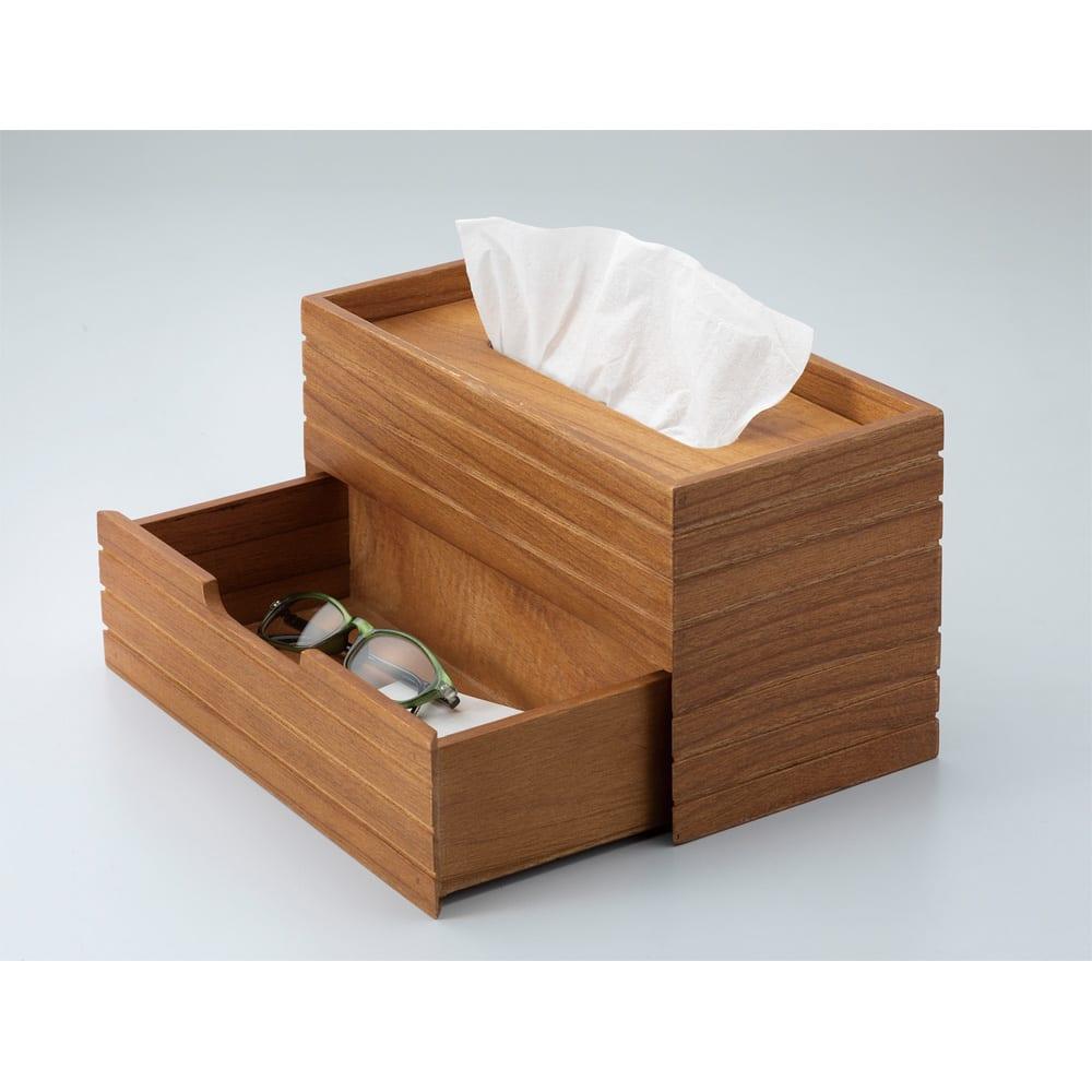 天然木引き出し付きティッシュケース 小物を収納できる引き出し付き。