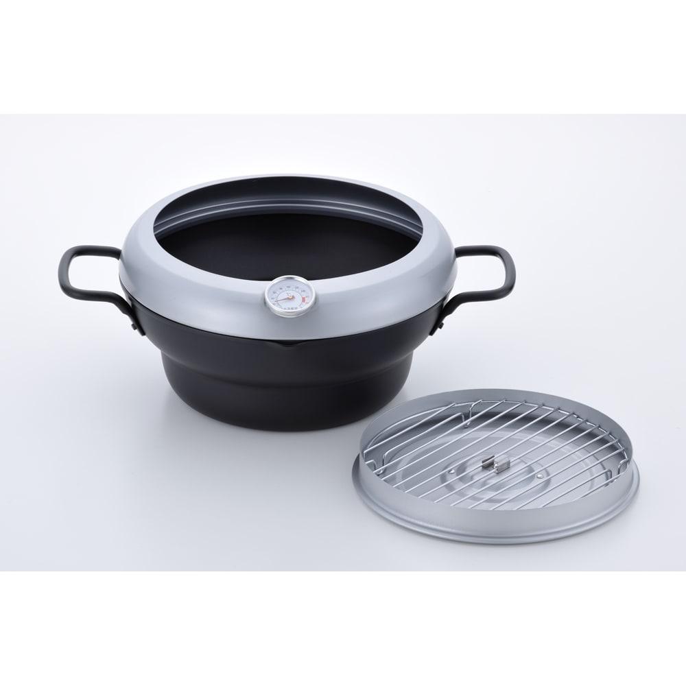 バット蓋付きIH対応段付き天ぷら鍋 24cm フタはバット代わりに。