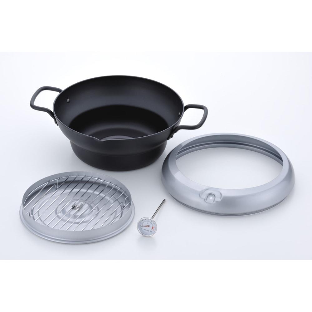 バット蓋付きIH対応段付き天ぷら鍋 24cm 全て分割して洗えます。