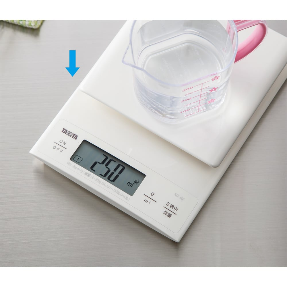 TANITA/タニタ 0.1gから計れるクッキングスケール 水と牛乳の容積計量が可能なmlモード付き