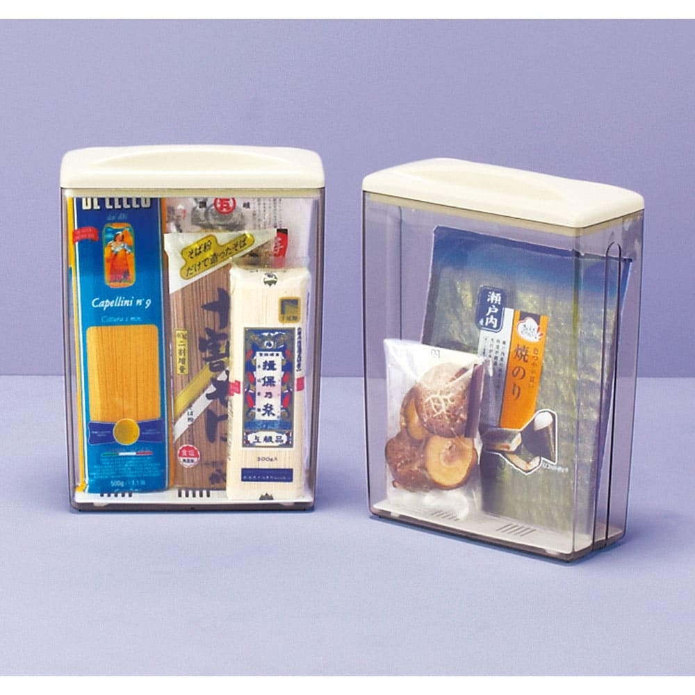 繰り返し使える乾燥剤付き ドライストッカー 2個組 のりはもちろん、種類の増える乾麺のストックに。乾物やお菓子の保存にも!