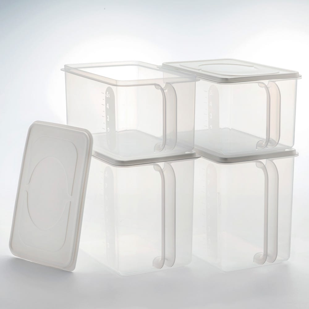 フタ付きハンディーストッカーセット(大2、小2) フタ付きだからホコリを防ぎ清潔に収納。