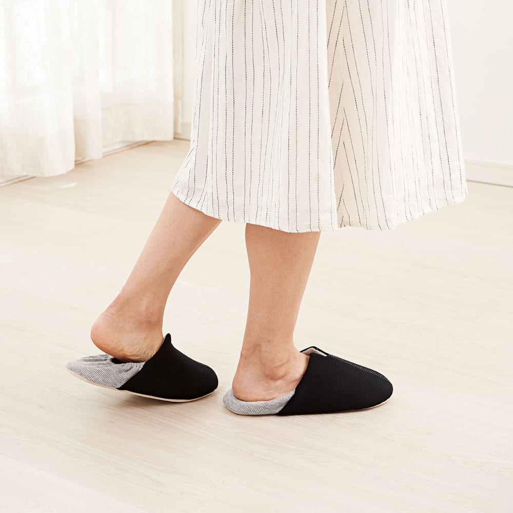ガラス片から足を守る防災スリッパ2足セット ブラック