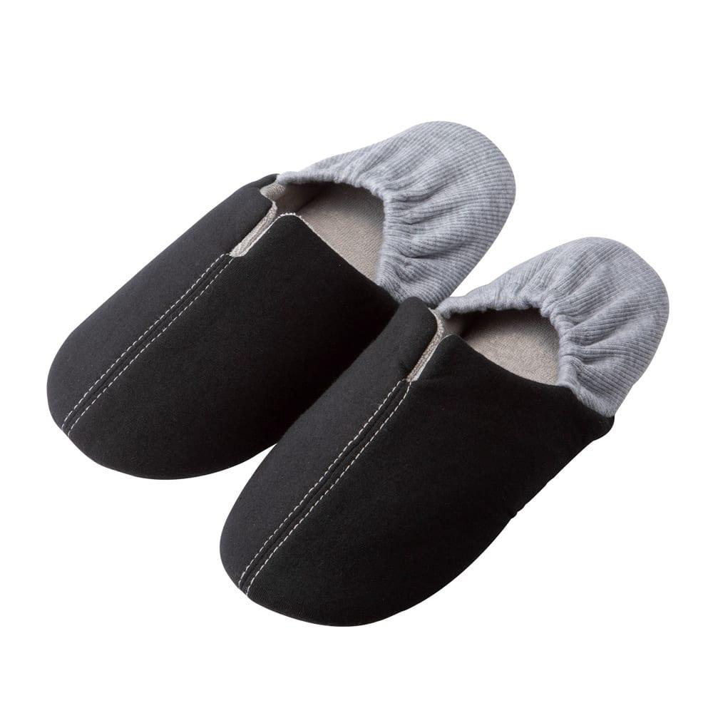 ガラス片から足を守る防災スリッパ2足セット ブラック Lサイズ