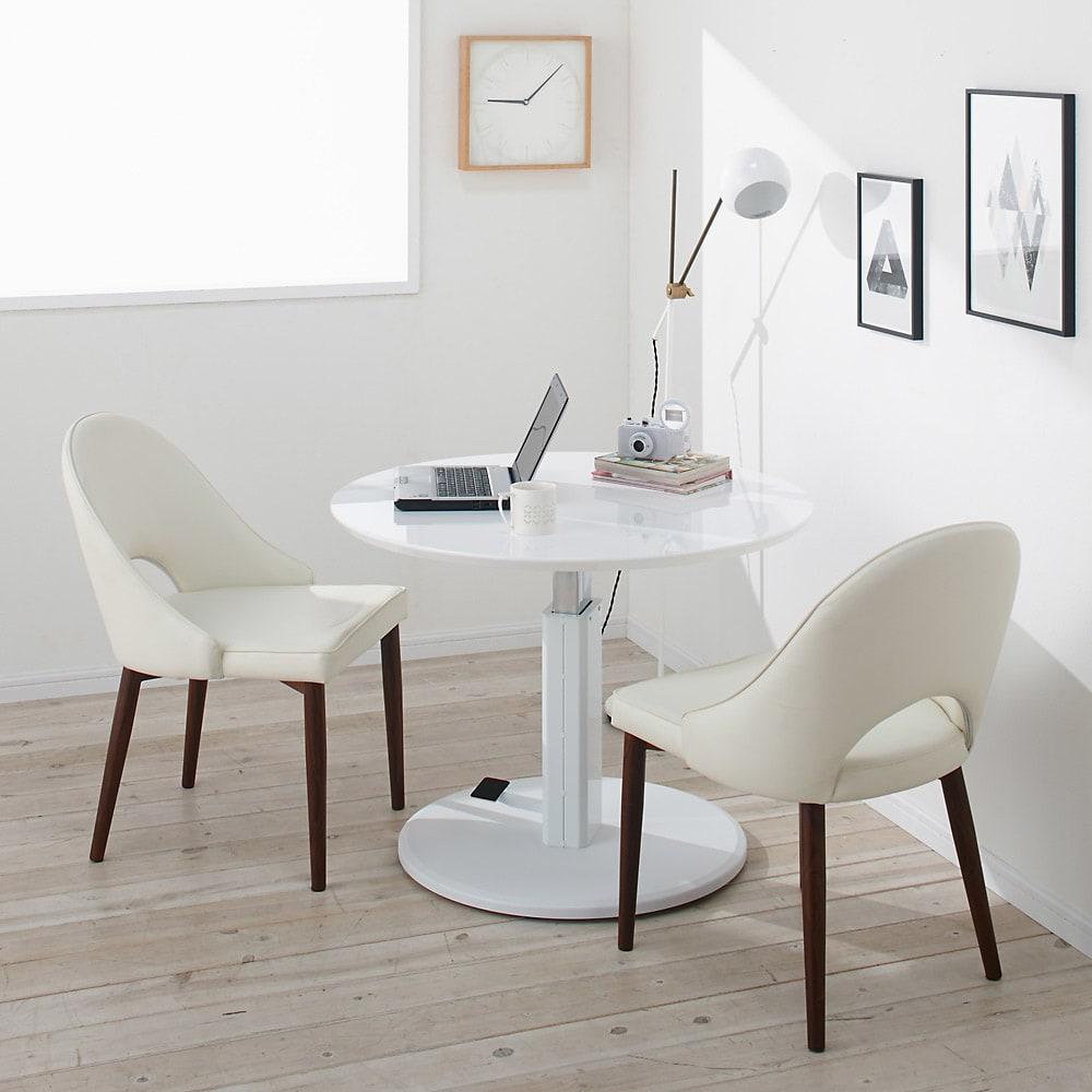 高さ自由自在!カフェスタイルダイニング 3点セット(丸形昇降テーブル径110cm+ラウンジチェア×2) ホワイト コーディネート例(イ)(座部)ホワイト・(脚部)ダークブラウン ※写真はテーブル径90cmです。お届けはテーブル径110cmです。
