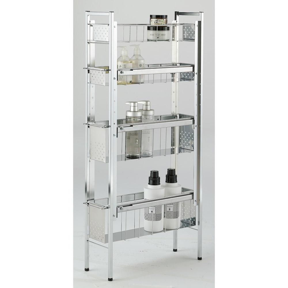 ステンレス洗濯機サイドラック 4段 幅17.5cm高さ103.2cm 清潔感のあるクールなデザインのラック。幅17.5cmの薄型で、洗濯用品やバスアイテムなどが場所を取らずに収納できます。