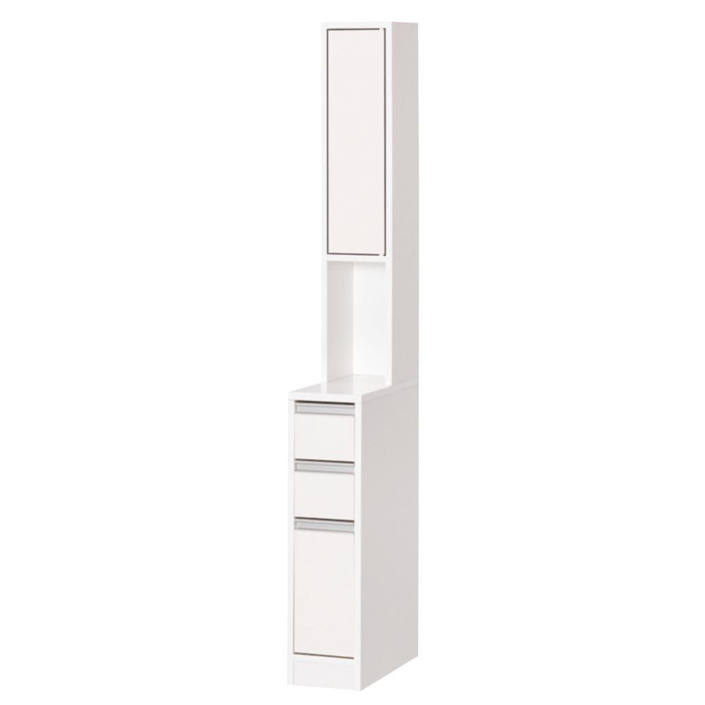 天板が使える 光沢仕上げ扉付きすき間収納庫 ハイタイプ・幅20cm すっきりとした印象のフラットタイプ。 狭い洗面所では出っ張りがないので◎ 扉は左右どちらにも設置できます。 固定棚の間の高さは35cmです。