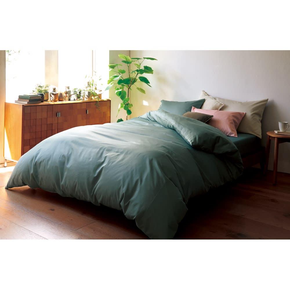 スーピマ超長綿を贅沢に使用したサテン織り 掛けカバー (オ)サンドグリーン (※お届けは掛けカバーです)