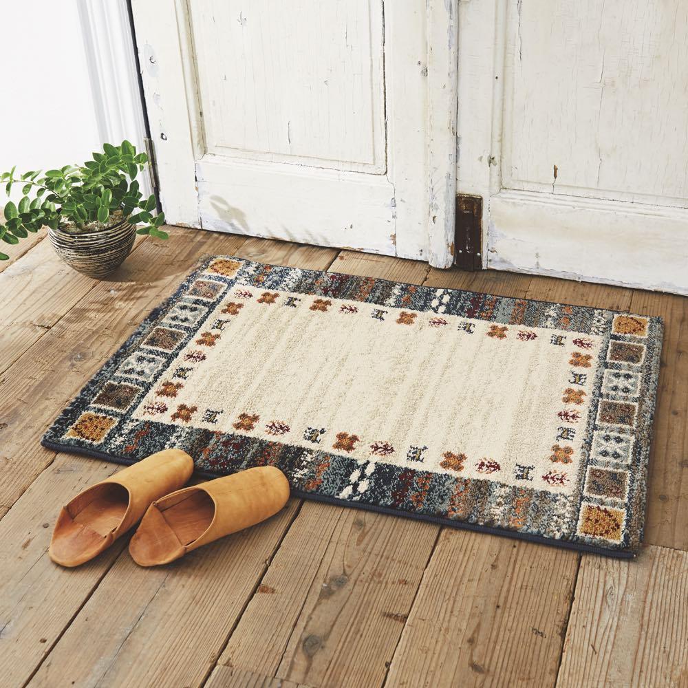 エジプト製ウィルトン織りマット〈ラピス〉 (ア)ブルー系