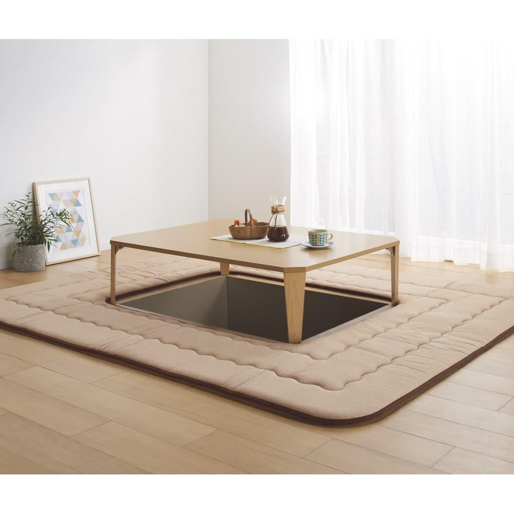 約190×190cm(インド綿平織ふっくらボリュームラグ 掘りごたつラグ) 760124