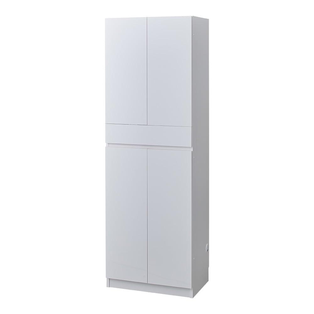 スイッチ避け壁面収納シリーズ 収納庫タイプ(上台扉付き・下台扉・背板あり)幅60cm奥行40cm (ア)ホワイト ※こちらは収納庫タイプ(上部背板あり)です。