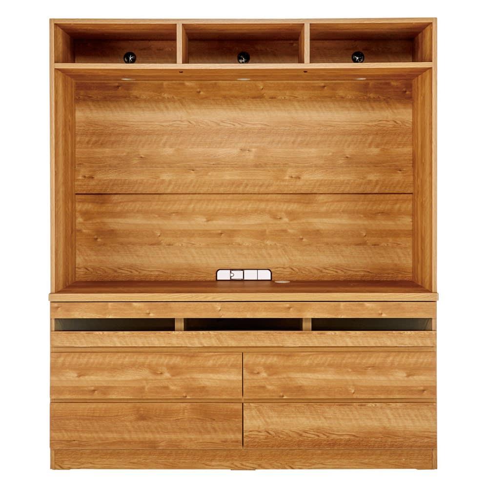 天然木調 リビング壁面収納シリーズ テレビ台 ハイタイプ 幅155cm オープン部内寸:幅150.5cm 高さ89.6cm 天板までの高さ70.5cm