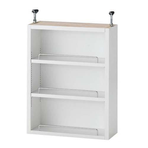 1cmピッチ薄型壁面書棚 奥行19cm 幅42cm 上置き高さ55cm オープン (イ)ホワイト 落下防止の金属製バーが付属しています。