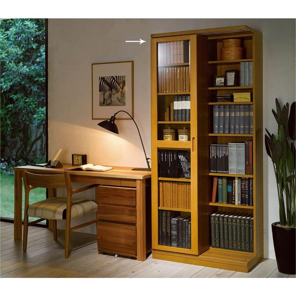 本格仕様 快適スライド書棚 タモ天然木扉付き 2列 (イ)ナチュラル