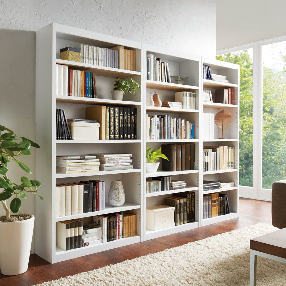 頑丈棚板がっちり書棚(頑丈本棚) ハイタイプ 幅80cm コーディネート例(ウ)ホワイト