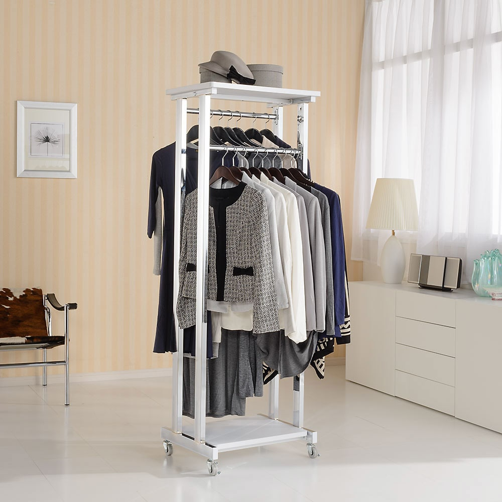 上下棚付き モダン頑丈ハンガーラック ダブル・幅60cm (イ)ホワイト 清潔感がうれしいホワイト色の頑丈ハンガー。(フレームはシルバーです)部屋の置き場所を選ばないすっきりとしたデザインです。
