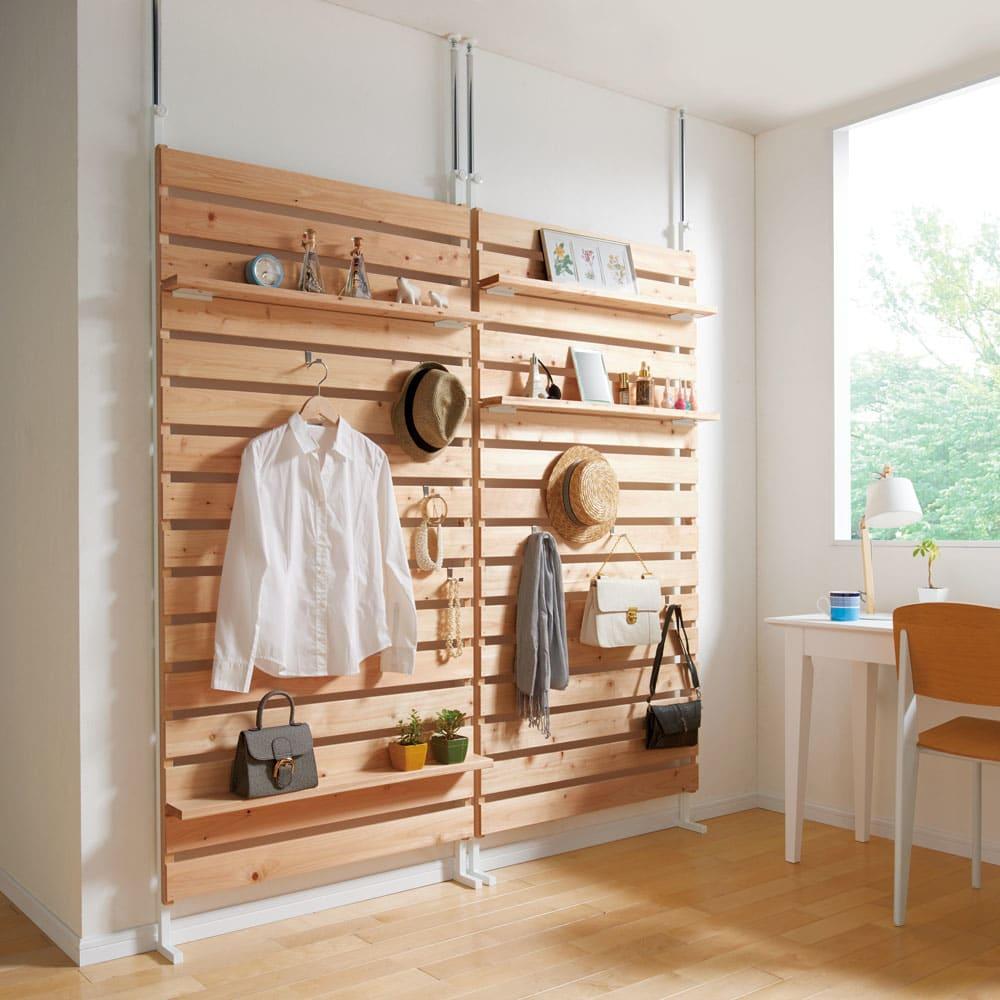 国産檜 壁面突っ張りウッドパネル  幅90cm コーディネート例 ※写真は幅90cmタイプを2台並べて使用しています。