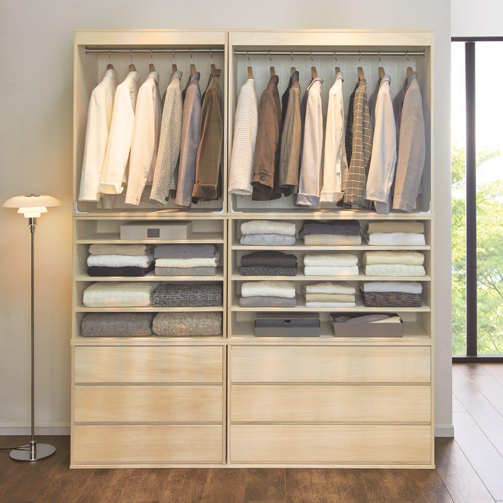 【大切な衣類を守る総桐仕様】総桐ユニットワードローブ シェルフ 幅100高さ60cm コーディネート例 ※お届けはシェルフ・幅100cmタイプです。