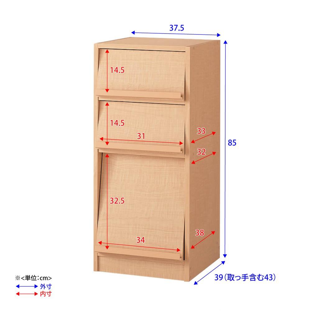奥行39cm マガジン&レコードキャビネット ベース CDプラス扉タイプ3段1列[高さ85・幅37.5cm] 詳細図 ※扉が斜めについているため、マガレコ収納部の上部と下部で内寸が若干異なります。