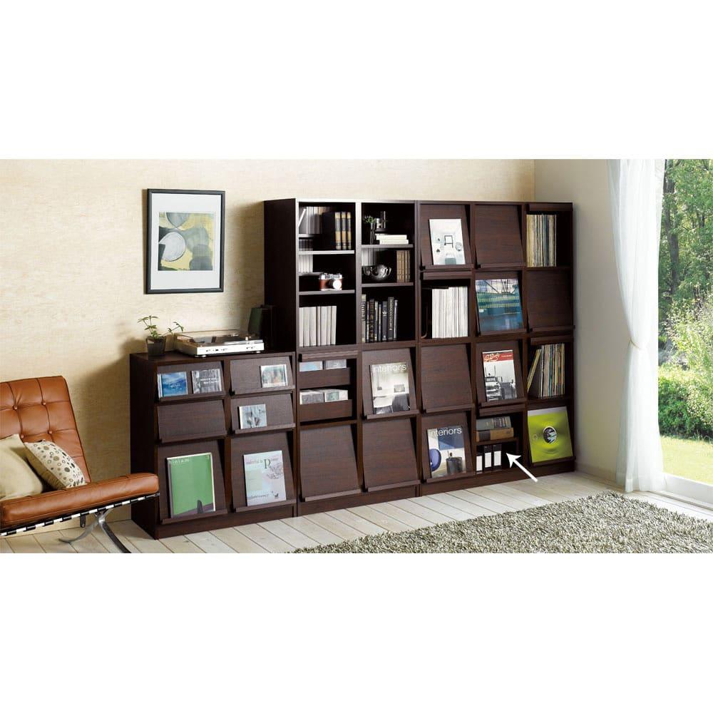 奥行39cm マガジン&レコードキャビネット 専用収納プチ棚2個セット(本体奥行32cm) (ウ)ダークブラウン 設置例 お届けは専用棚板のみとなります。