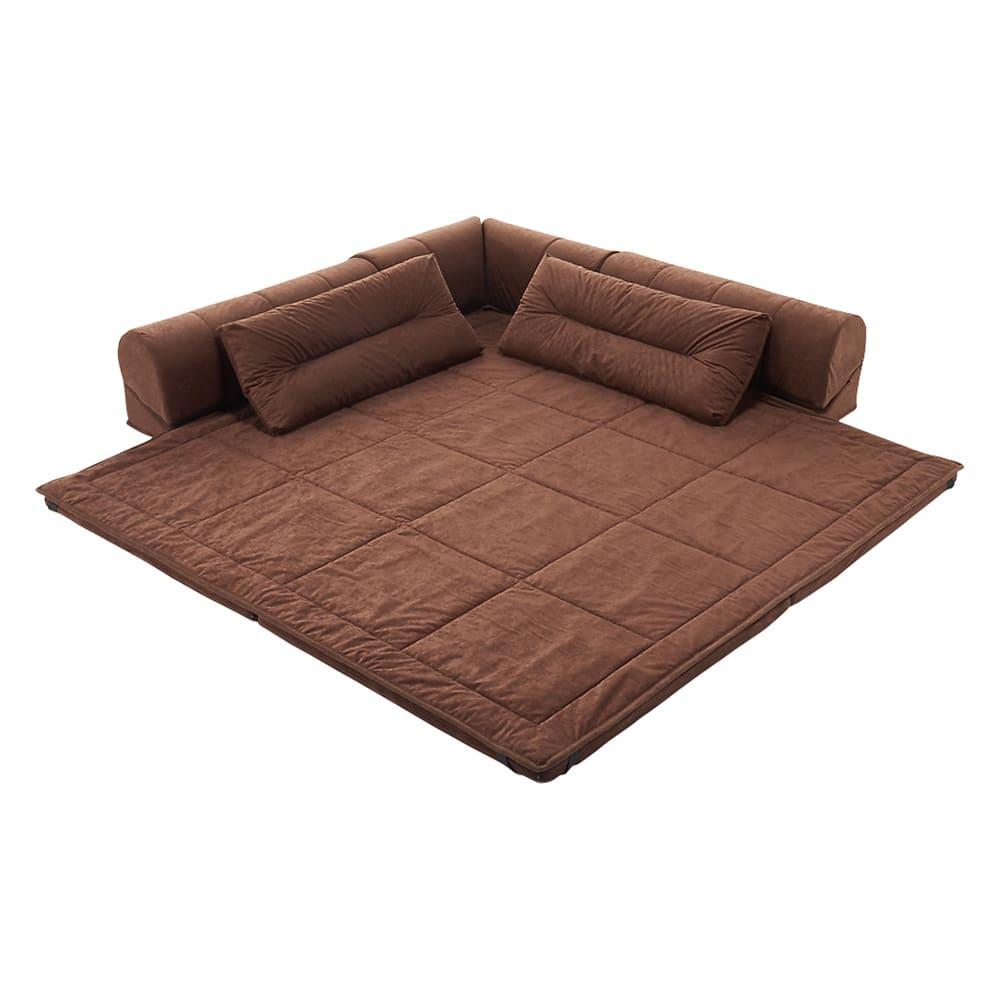 包まれるしあわせのクッション付きごろ寝ソファ 大(190×190cm) (イ)ダークブラウン