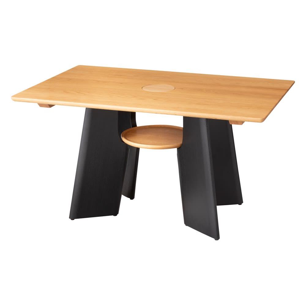 オーク天然木の ネコとくつろぐ ダイニングテーブル (ア)ナチュラル