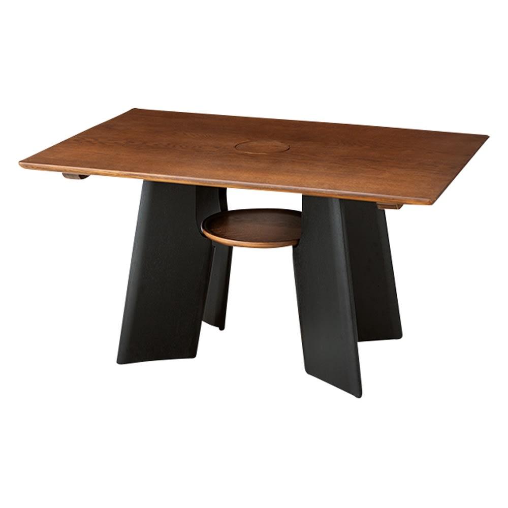 オーク天然木の ネコとくつろぐ ダイニングテーブル (イ)ダークブラウン